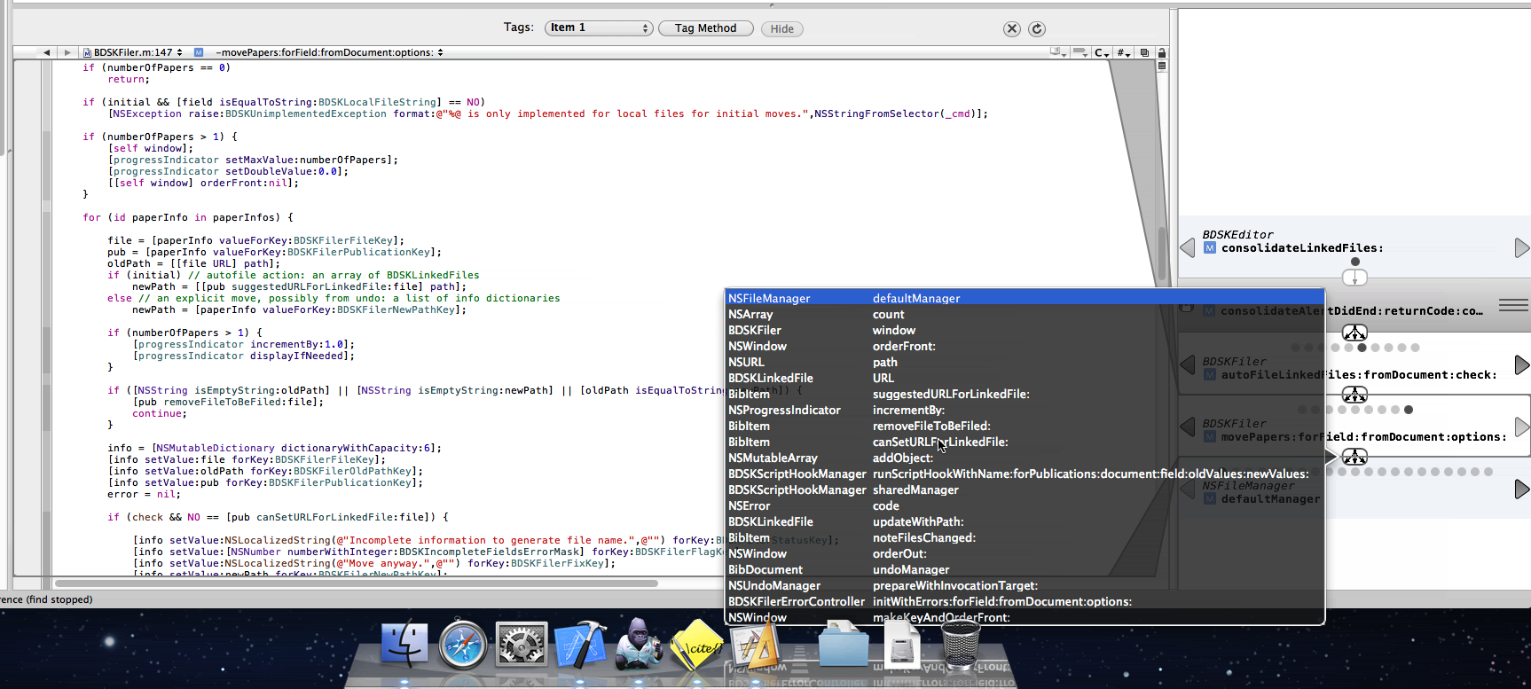 """A screenshot of Xcode 3 running on Snow Leopard with a split view showing the editor on the left and a custom plugin on the right. The plugin-view contains a stack of methods with the currently displayed method in the editor highlighted in the plugin view with a darker metallic background. All methods preceding and succeeding the current method in the stack have arrows on the left and right indicating that they can be exchanged for other callee/caller methods and each stack-level has a page indicator showing how many methods there are on this level. The different """"frames"""" of the stack are connected by little buttons with an icon showing showing on arrow branching of into three. In addition, a popover HUD-like view is shown pointing to one of the buttons connecting two frames. The popover shows a list of all methods called by the originating method and thus allowing a quick-selection of a method without stepping through them via the arrow buttons."""